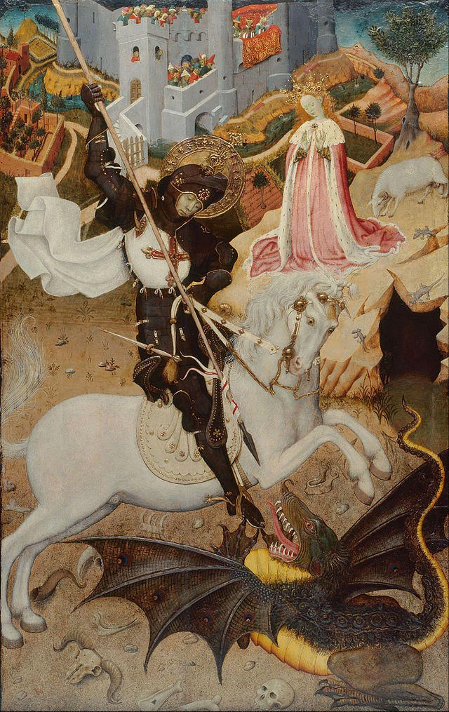 "Bernat_Martorell_-_Saint_George_Killing_the_Dragon_-_Google_Art_Project Art floral per Sant Jordi - Celi Comas ""Verd és bo"""
