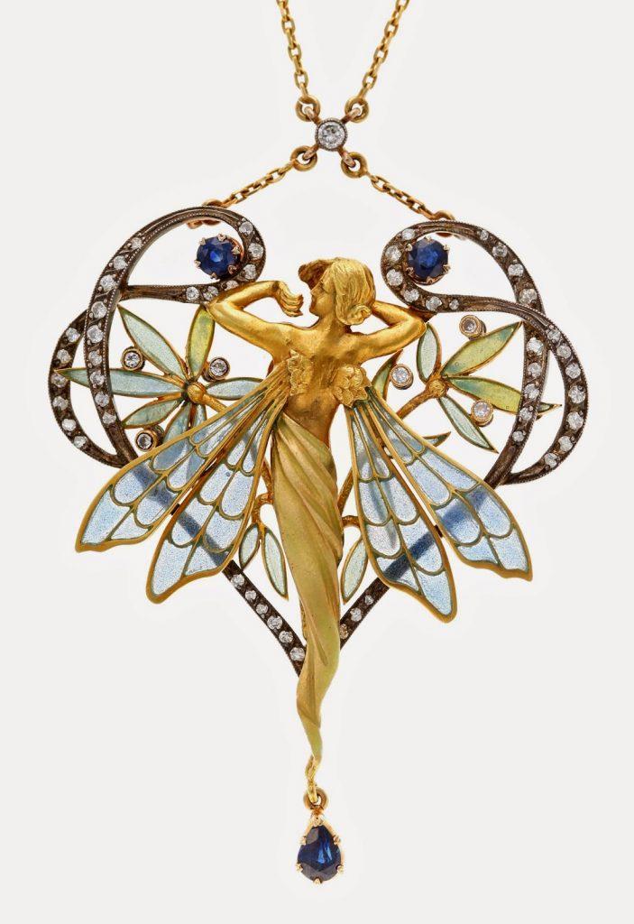 Masriera_y_Carreras_-_Collar_en_forma_de_nimfa-703x1024 L'esmalt a l'orfebreria i joieria - L'esmalt translúcid de l'Art Nouveau i del Modernisme