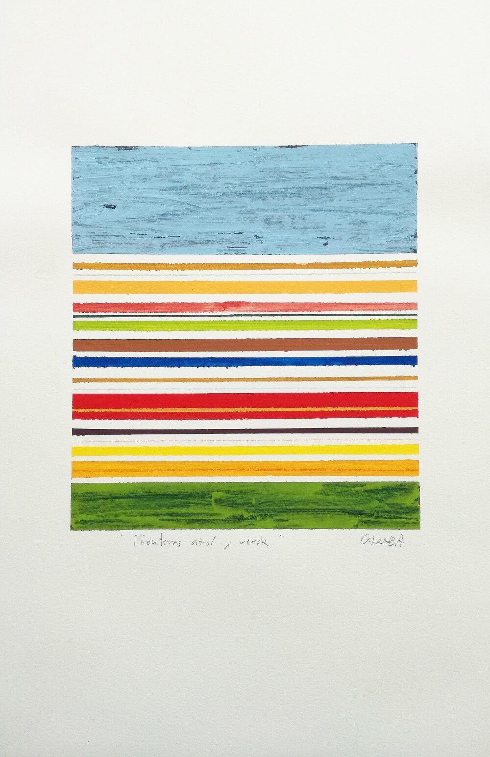 FRONTERA-azul-y-verde-32-x-50-22-5-x-25-2010 Antonio Camba