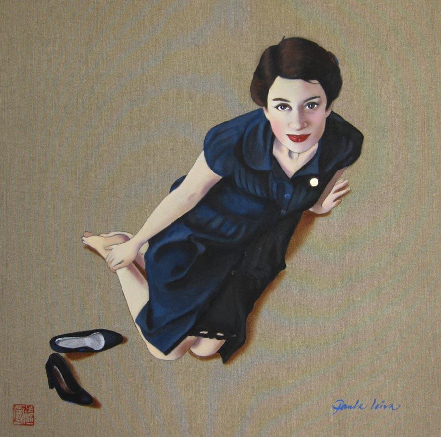 La-mirada-del-corazon-2010.Oleo-sobre-tela-50-x-50-cms Paula Leiva - Màgica singularitat d'inspiració japonesa