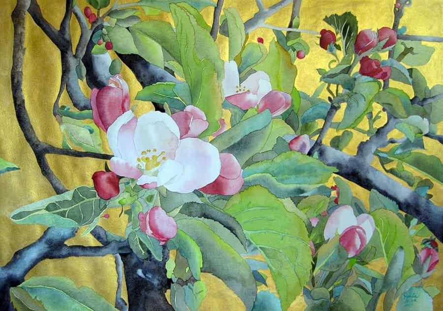 Manzano-en-flor-2015.-100-x-70-cms-Acuarela-sobre-papel-con-fondo-oro Paula Leiva - Màgica singularitat d'inspiració japonesa