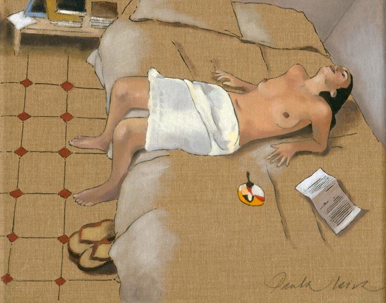 Valeria-con-abanico-2.-2002-Oleo-sobre-tela.-22-x-27-cms Paula Leiva - Màgica singularitat d'inspiració japonesa