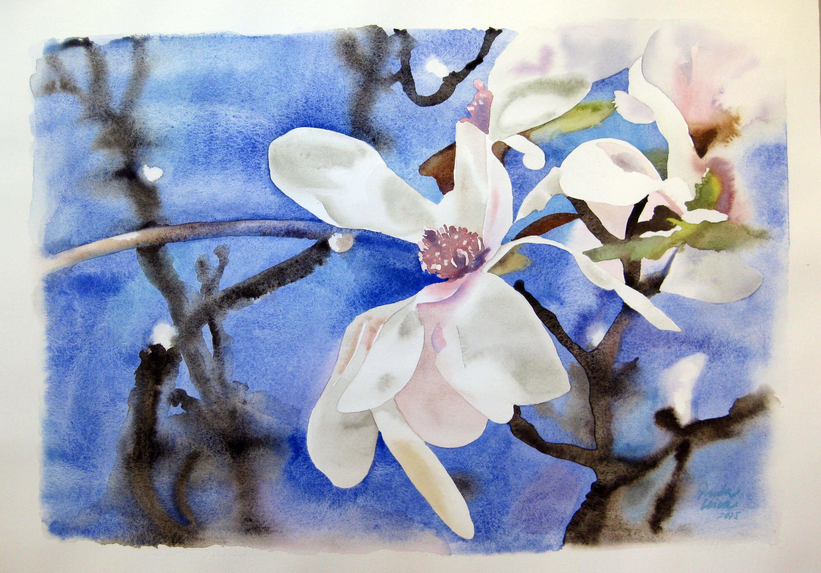 Magnolia-2015-Aquarel.la-50-x-70-cms Paula Leiva
