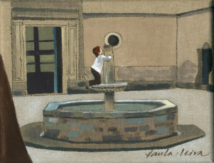 Plaça-de-San-Felip-Neri-BCN-2010-Oli-i-tinta-xina-sobre-llenç-18-x-14-cm. Paula Leiva