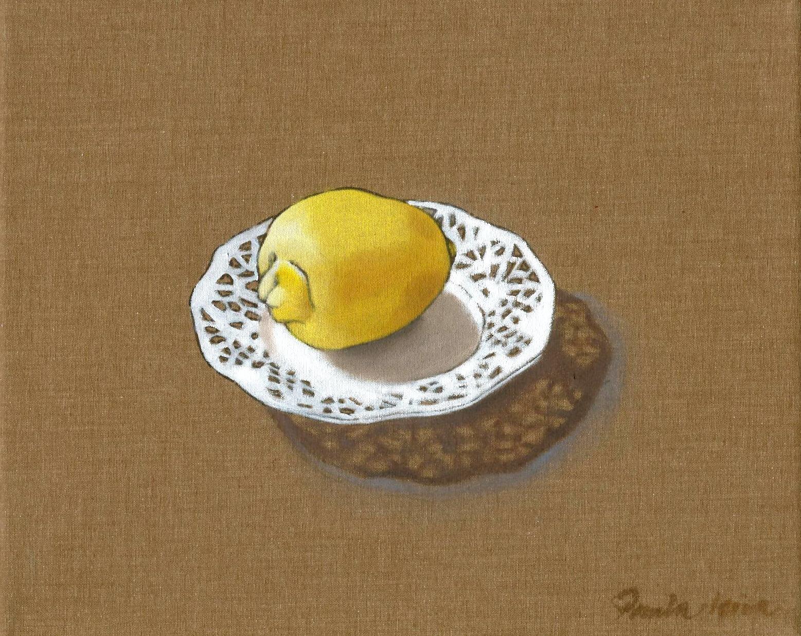 Un-limón2007Óleo-y-tinta-china-sobre-tela-22-x-27-cm. Paula Leiva