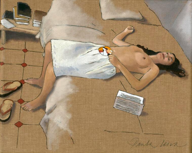 Valeria-amb-ventall-2002Oli-i-tinta-xina-22-x-27-cm. Paula Leiva