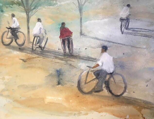 Passeig-amb-bici-36x30-Mixta-sobre-paper-1 Cristina Cabané