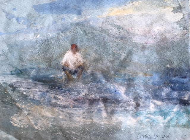 Pensant-davant-del-mar-30x40-Mixta-sobre-tela Cristina Cabané