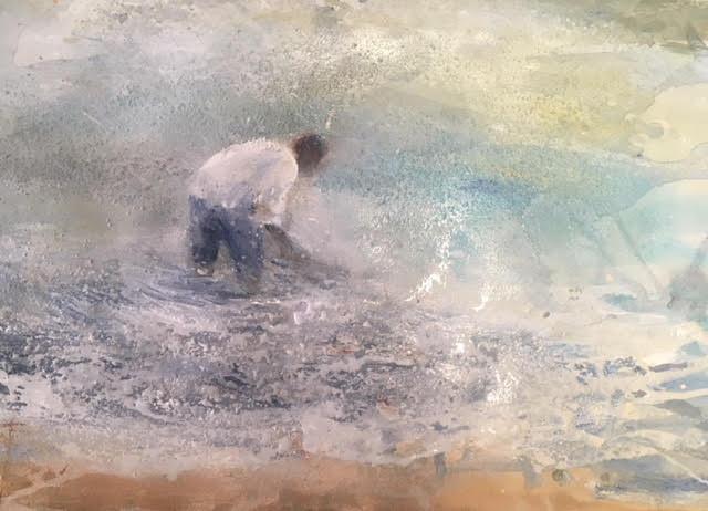 Pescant-en-el-mar-30x40-Mixta-sobre-paper Cristina Cabané