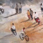Un-ratito-a-pie-y-otro-caminando-38x21-Mixta-sobre-tela-150x150 Cristina Cabané - El pols de la vida
