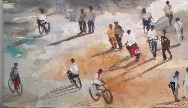 Un-ratito-a-pie-y-otro-caminando-38x21-Mixta-sobre-tela Cristina Cabané