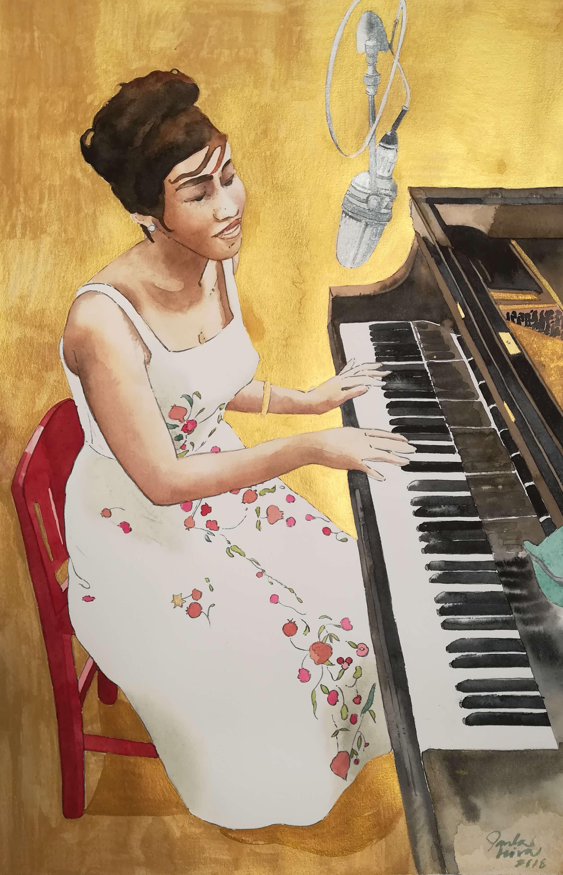Paula-Leiva-Granger-Aretha-Franklin-al-piano-.2018-Acuarela-y-tinta-china.-70-x-50-cm.-1 Paula Leiva